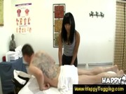 Asian lady gives a massage